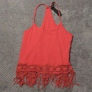 Racer back cami tank top with fringe